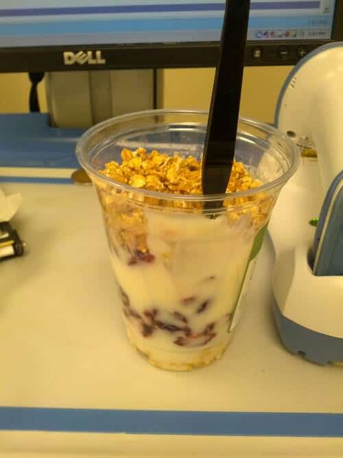 My routine lunch - a cranberry and granola parfait
