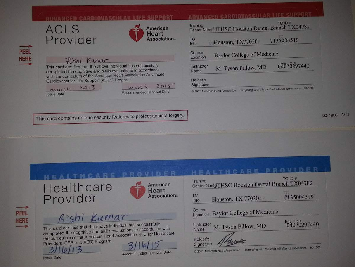 bls acls cards support basic rk md certified